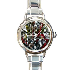 Christmas Cross Stitch Background Round Italian Charm Watch