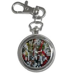 Christmas Cross Stitch Background Key Chain Watches