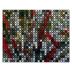 Christmas Cross Stitch Background Rectangular Jigsaw Puzzl