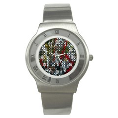 Christmas Cross Stitch Background Stainless Steel Watch