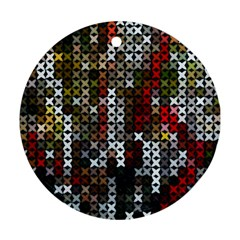 Christmas Cross Stitch Background Round Ornament (two Sides)
