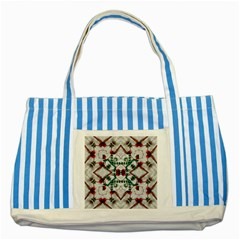 Christmas Paper Striped Blue Tote Bag