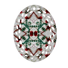 Christmas Paper Oval Filigree Ornament (two Sides)