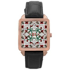 Christmas Paper Rose Gold Leather Watch