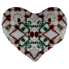 Christmas Paper Large 19  Premium Flano Heart Shape Cushions