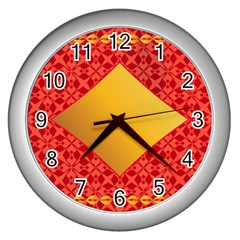 Christmas Card Pattern Background Wall Clocks (silver)