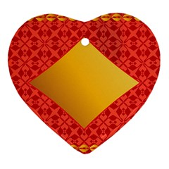 Christmas Card Pattern Background Heart Ornament (two Sides)