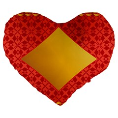 Christmas Card Pattern Background Large 19  Premium Flano Heart Shape Cushions