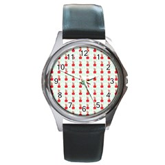 At On Christmas Present Background Round Metal Watch