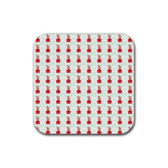 At On Christmas Present Background Rubber Square Coaster (4 Pack)