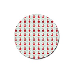 At On Christmas Present Background Rubber Coaster (round)