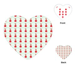At On Christmas Present Background Playing Cards (heart)