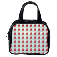 At On Christmas Present Background Classic Handbags (one Side)