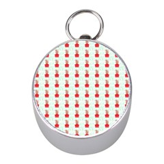 At On Christmas Present Background Mini Silver Compasses