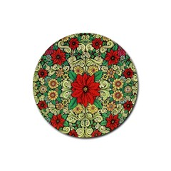 Calsidyrose Groovy Christmas Rubber Round Coaster (4 Pack)