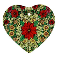 Calsidyrose Groovy Christmas Heart Ornament (two Sides)