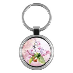 Wonderful Flowers, Soft Colors, Watercolor Key Chains (round)
