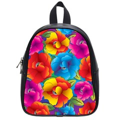 Neon Colored Floral Pattern School Bag (small)