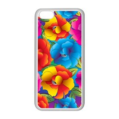 Neon Colored Floral Pattern Apple Iphone 5c Seamless Case (white)
