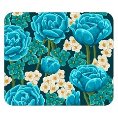 Light Blue Roses And Daisys Double Sided Flano Blanket (small)