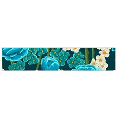 Light Blue Roses And Daisys Small Flano Scarf