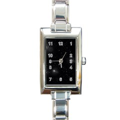Starry Galaxy Night Black And White Stars Rectangle Italian Charm Watch