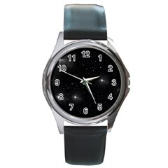 Starry Galaxy Night Black And White Stars Round Metal Watch