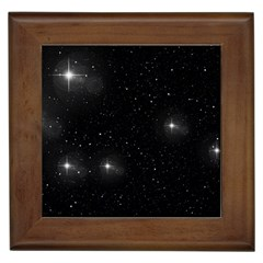 Starry Galaxy Night Black And White Stars Framed Tiles