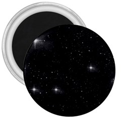 Starry Galaxy Night Black And White Stars 3  Magnets