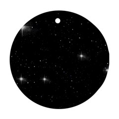 Starry Galaxy Night Black And White Stars Ornament (round)