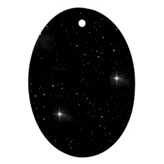 Starry Galaxy Night Black And White Stars Ornament (oval)