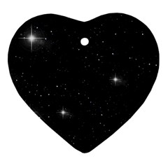 Starry Galaxy Night Black And White Stars Ornament (heart)