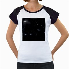 Starry Galaxy Night Black And White Stars Women s Cap Sleeve T