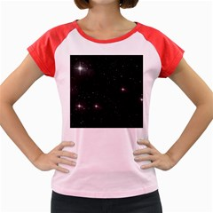 Starry Galaxy Night Black And White Stars Women s Cap Sleeve T Shirt