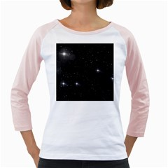 Starry Galaxy Night Black And White Stars Girly Raglans