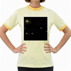 Starry Galaxy Night Black And White Stars Women s Fitted Ringer T Shirts