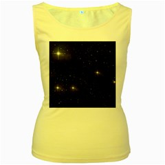 Starry Galaxy Night Black And White Stars Women s Yellow Tank Top