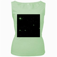 Starry Galaxy Night Black And White Stars Women s Green Tank Top