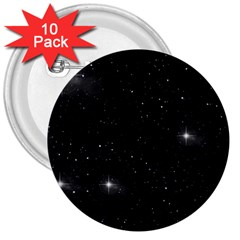 Starry Galaxy Night Black And White Stars 3  Buttons (10 Pack)