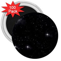 Starry Galaxy Night Black And White Stars 3  Magnets (100 Pack)
