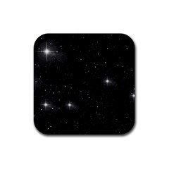 Starry Galaxy Night Black And White Stars Rubber Square Coaster (4 Pack)