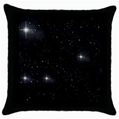 Starry Galaxy Night Black And White Stars Throw Pillow Case (black)