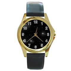 Starry Galaxy Night Black And White Stars Round Gold Metal Watch