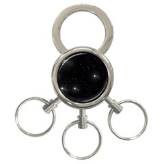 Starry Galaxy Night Black And White Stars 3 Ring Key Chains