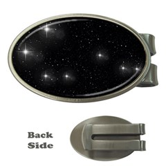 Starry Galaxy Night Black And White Stars Money Clips (oval)