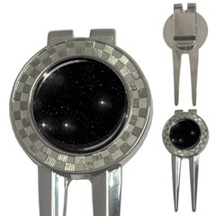 Starry Galaxy Night Black And White Stars 3 In 1 Golf Divots