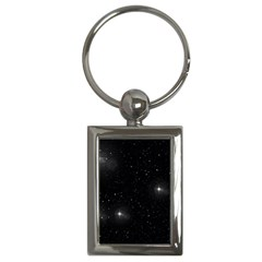 Starry Galaxy Night Black And White Stars Key Chains (rectangle)