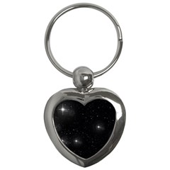 Starry Galaxy Night Black And White Stars Key Chains (heart)