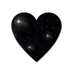 Starry Galaxy Night Black And White Stars Heart Magnet