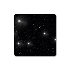 Starry Galaxy Night Black And White Stars Square Magnet